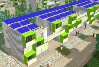 Shipping containers habilitation for emergency houses in Barcelona